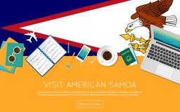 参观您的网横幅的美属萨摩亚概念 皇族释放例证