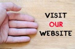 参观我们的网站文本概念 免版税库存照片