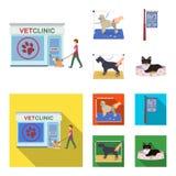 参观狩医诊所,一个时髦的沙龙的牌宠物的,狗理发  治疗诊所和宠物,狗关心集合 库存照片