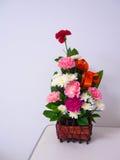 参观的耐心的五颜六色的康乃馨花篮子在桌上 免版税库存图片