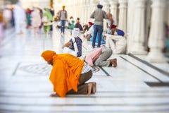 参观金黄寺庙的锡克教徒和印地安人民在阿姆利则 免版税库存照片