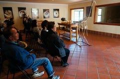 参观驼鸟农场的未认出的游人在开普敦 库存图片