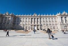 参观2016年11月13日的人们王宫在马德里,西班牙 图库摄影