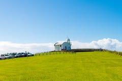 参观Crowdy头灯塔,在福尔斯特和港Macquarie之间的陆岬的人们,在新南威尔斯,澳大利亚 免版税库存照片
