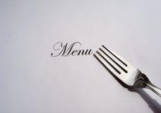 叉子书面的菜单银 库存图片