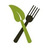 叉子事假健康食物标志 皇族释放例证