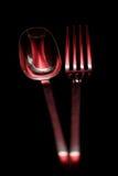 叉子全长红色匙子 免版税图库摄影