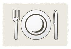 叉子刀子牌照 向量例证