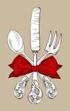 叉子厨刀匙子三器物 库存照片