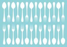 叉子和匙子剪影  免版税库存图片