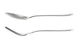 叉子和匙子厨具被隔绝在白色 图库摄影