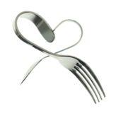 叉子和匙子心脏 免版税图库摄影