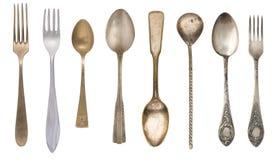 叉子和匙子顶视图  葡萄酒利器 r 库存图片