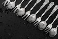 叉子和匙子 库存图片