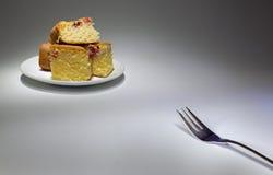 叉子和蛋糕 库存照片