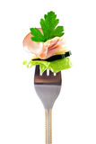 叉子新鲜的火腿快餐 免版税库存照片