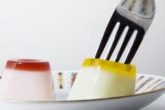 叉子果冻 图库摄影