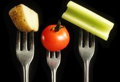 叉子查出在空白的蔬菜 免版税图库摄影
