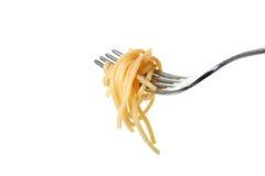 叉子查出的意大利面食 免版税库存照片