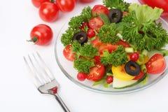 叉子用新鲜的沙拉 免版税库存图片