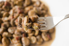 叉子用豆 库存图片