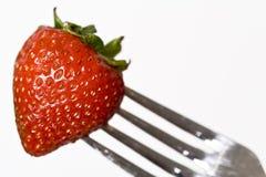 叉子草莓 免版税库存照片