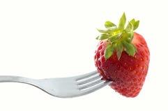 叉子草莓 免版税库存图片