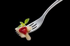 叉子通心面蕃茄 图库摄影