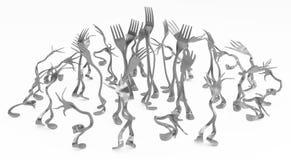 叉子金属腿,扭屈小组 皇族释放例证