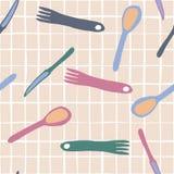 叉子,刀子,匙子无缝的样式简单的样式 向量例证