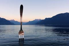 叉子,沃韦,瑞士 免版税库存图片