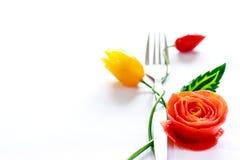 叉子,菜雕刻 免版税图库摄影