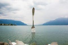 叉子-一个莱芒湖地标在瑞士 库存图片