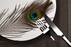 叉子&刀子和一根孔雀羽毛在吃残忍的野生生物动物的盘概念 免版税库存图片