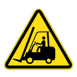 叉架起货车的标志警告 免版税库存照片