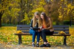 及早温暖秋天 两个迷人的女孩坐一条长凳在秋天公园 免版税库存照片