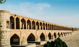 及早第17个c, Sio seh波尔布特,亦称Allahverdi可汗桥梁,在伊斯法罕,伊朗连续由33曲拱做成和 免版税库存图片