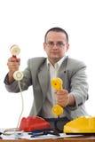 友好去市场的人电话 库存照片