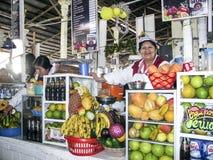 友好的地方妇女卖新鲜的汁液给游人 图库摄影