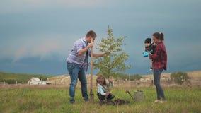 友好的家庭,种植与父母的孩子树在庭院里 股票录像