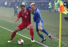 友好的比赛乌克兰v塞尔维亚在哈尔科夫 免版税图库摄影