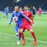 友好的比赛乌克兰v塞尔维亚在哈尔科夫 免版税库存图片