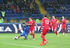 友好的比赛乌克兰v塞尔维亚在哈尔科夫 库存照片