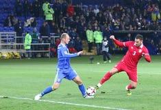 友好的比赛乌克兰v塞尔维亚在哈尔科夫 免版税库存照片