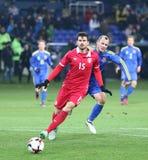 友好的比赛乌克兰v塞尔维亚在哈尔科夫 库存图片