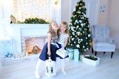 友好的逗人喜爱的姐妹为照相机,举行礼物在手, smi上摆在 免版税库存照片