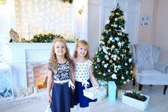 友好的逗人喜爱的姐妹为照相机,举行礼物在手, smi上摆在 免版税图库摄影
