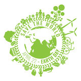 友好的Eco,绿色能量概念,传染媒介例证 变褐环境叶子去去的绿色拥抱本质说明说法口号文本结构树的包括的日地球 免版税库存照片