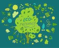 友好的Eco,绿色能量概念,平的传染媒介 库存照片