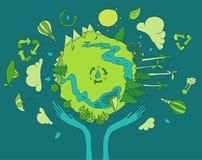 友好的Eco,绿色能量概念,平的传染媒介 免版税库存照片